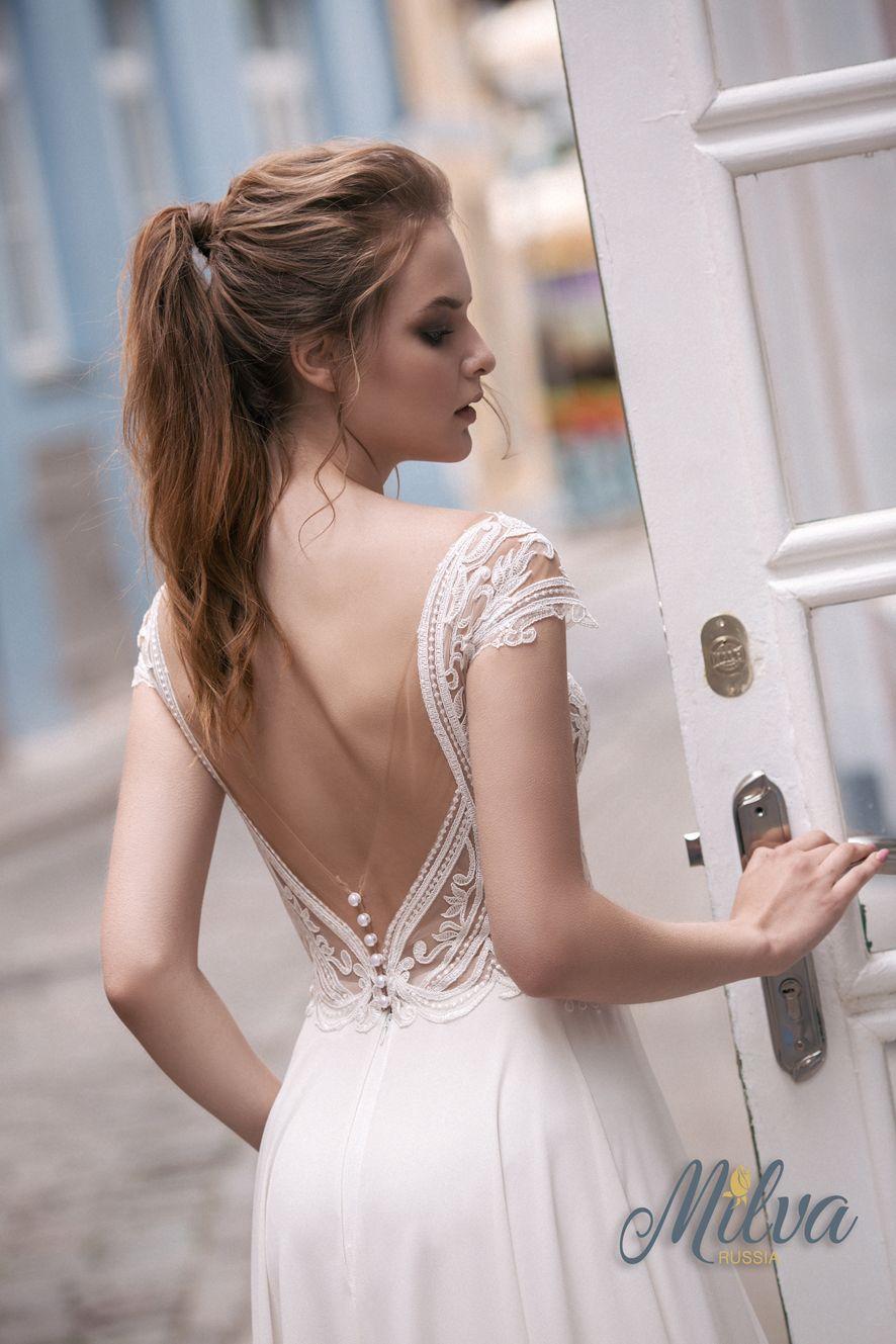 Cap sleeves illusion sweetheart neckline embellishment bodice column wedding dress #weddingdress #weddinggown #wedding
