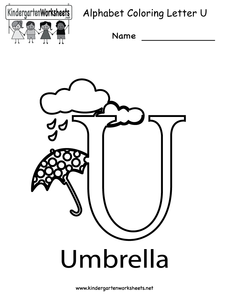 Kindergarten Letter U Coloring Worksheet Printable
