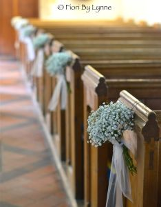 Simple tulle and flower aisle decorations on every second one for  budget save also pew bows gypsophila end with bow trails these tied rh pinterest