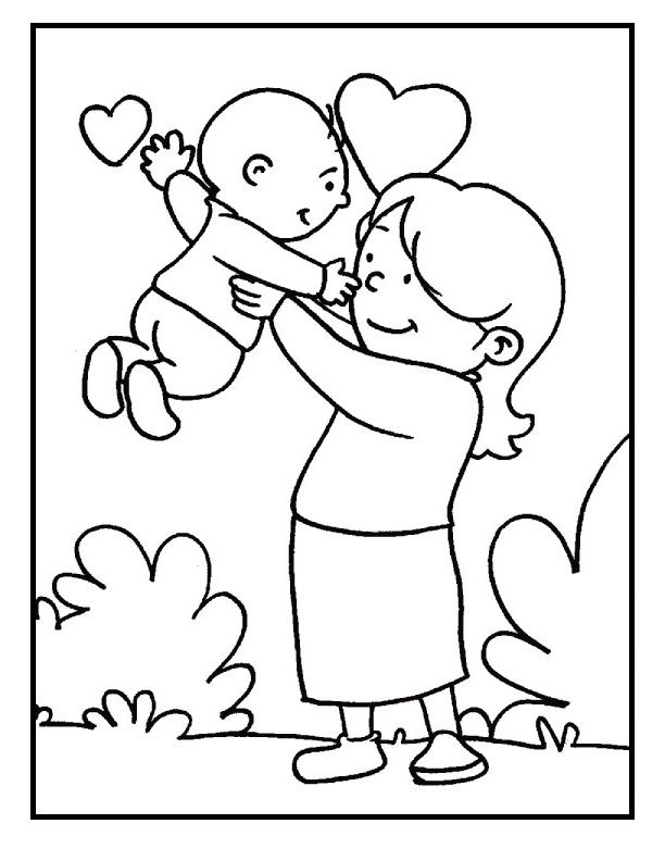 Baby And Mom On Mother's Day coloring picture for kids