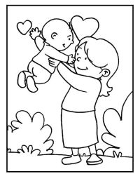 Baby And Mom On Mothers Day coloring picture for kids ...