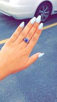 Sky blue acrylic coffin nails. So in love!!!! | MakeUp ...