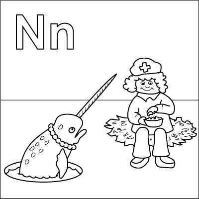 Letter N coloring page (Nurse, Nuts, Nest, Narwhal