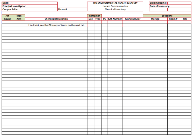equipment inventory template - free download