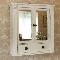 White wooden mirrored bathroom wall cabinet shabby vintage ...