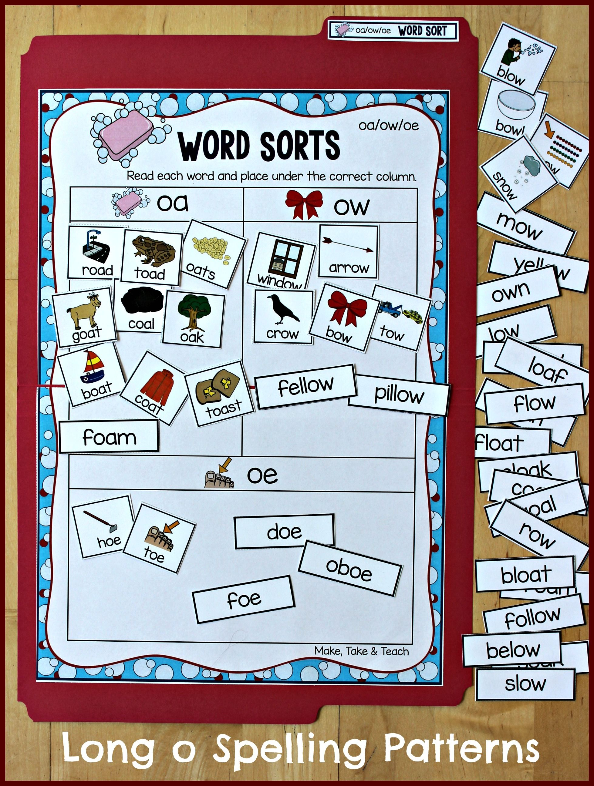 Oa Ow Oe File Folder Word Sorting Activity Great Way To Introduce The Spelling Patterns Of Long