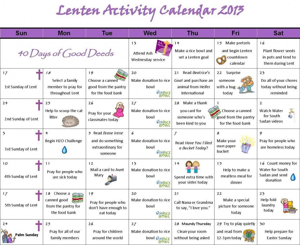 Lenten Activity Calendar