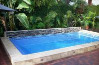 This Islander pool is 14' x 28' with a raised back ledger ...