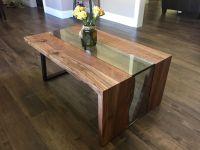 Live edge waterfall coffee table - solid black oak, steel ...