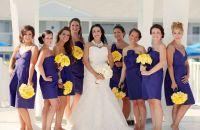 Purple bridesmaid dresses, yellow bouquets. | Tiffany ...