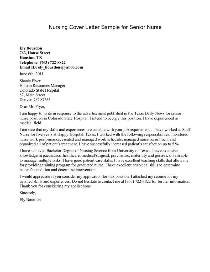Cover Letter Example Nursing  httpwwwjobresumewebsitecoverletterexamplenursing6