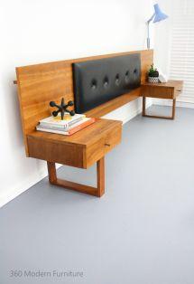Mid Century Teak Bedside Tables Drawers Bedhead Retro