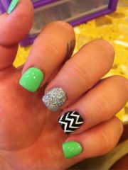 lime green with silver glitter