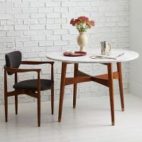 Reeve Mid-Century Dining Table, Marble/Pecan | Mid century ...