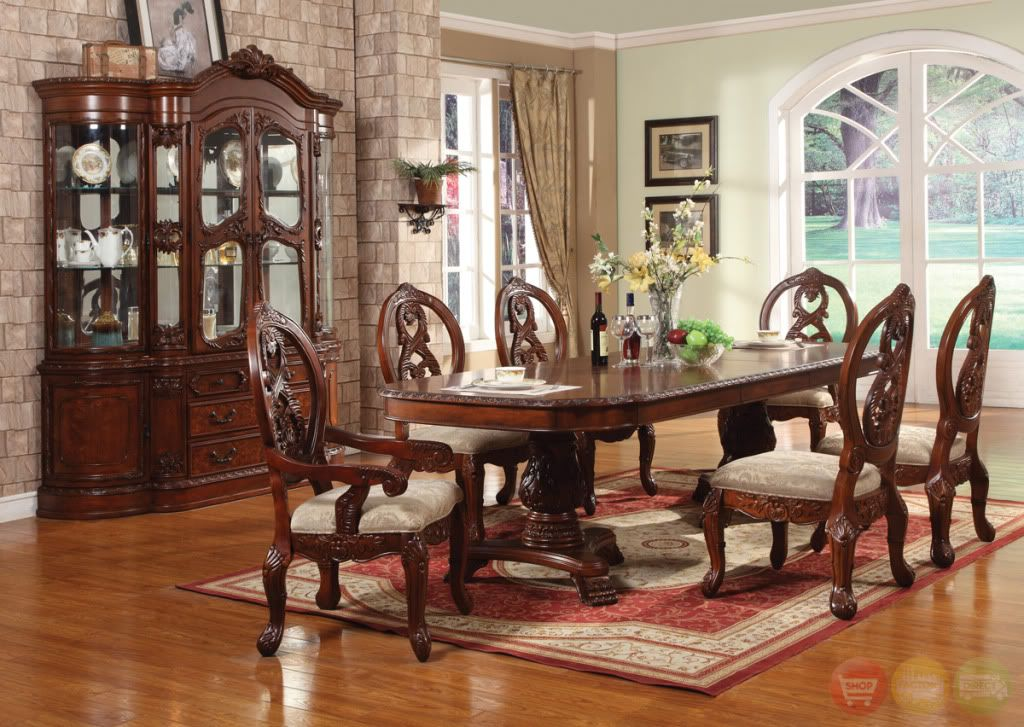 Windham Carved Traditional Formal Dining Room Set Cherry