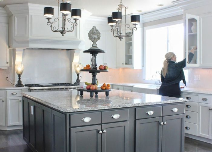 White cabinets grey island wood floors bm dove for the perimeter and sw urbane bronze also jill from forever cottage   design process house pinterest