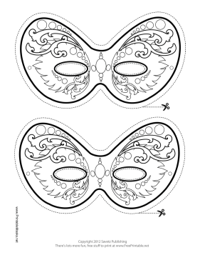 Ornate Mardi Gras Mask to Color Printable Mask, free to