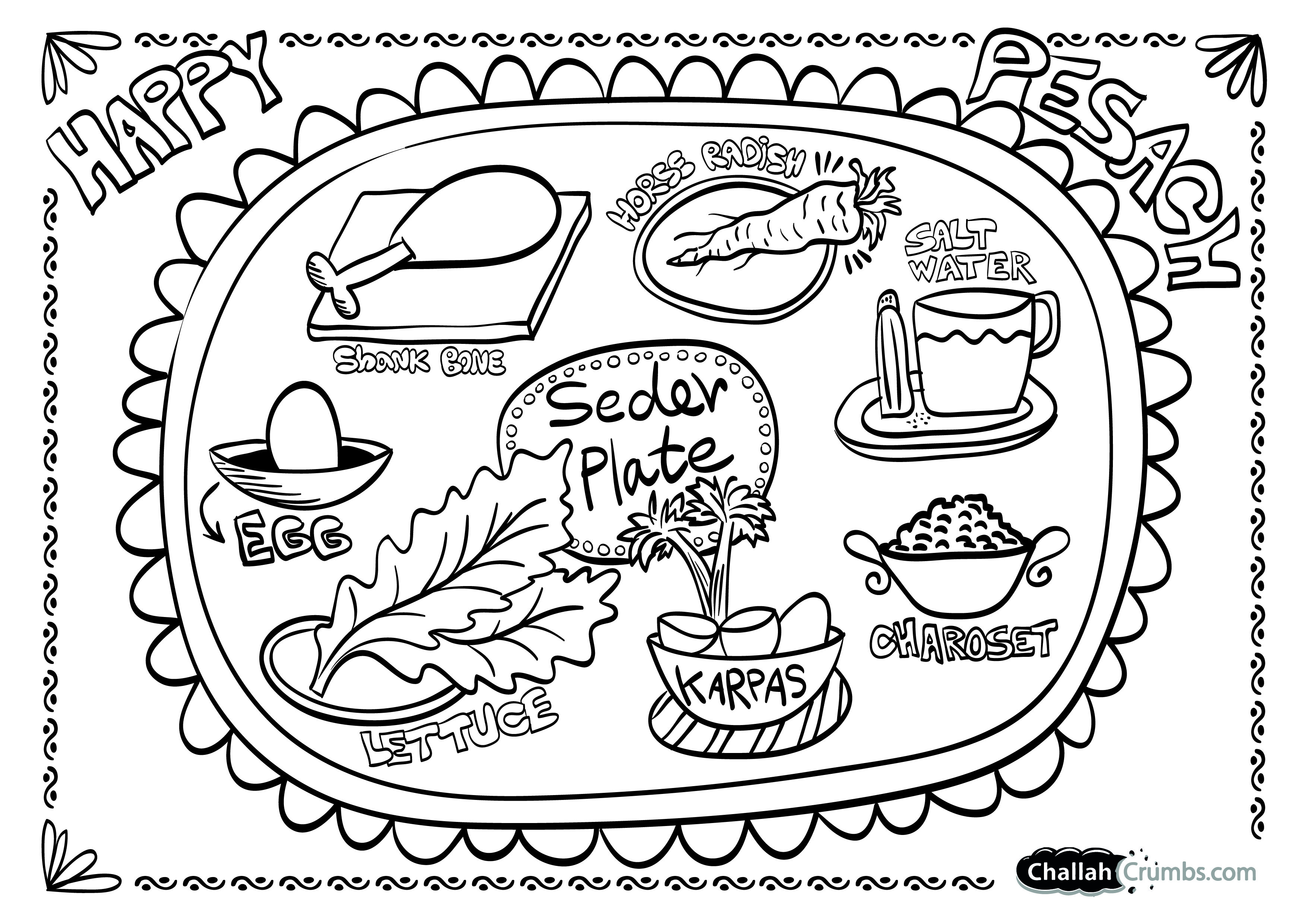 Seder Plate Coloring