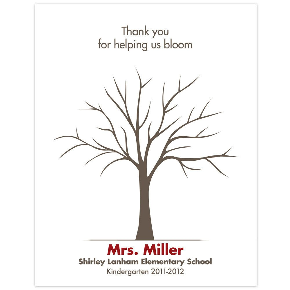 Printable Teacher Fingerprint Tree PDF by lovliday on Etsy