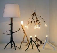 Pendant as well as floor standing lamps made from tree ...
