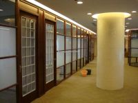 office design with wood trim glass wall | Medium : 80 x 80 ...