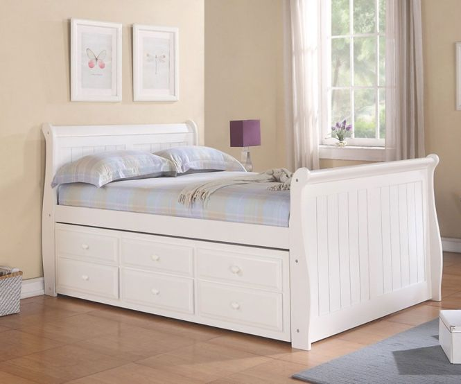 White Full Size Sleigh Trundle Captains Bed Kids Bedroom Furniture Captain S Beds And With