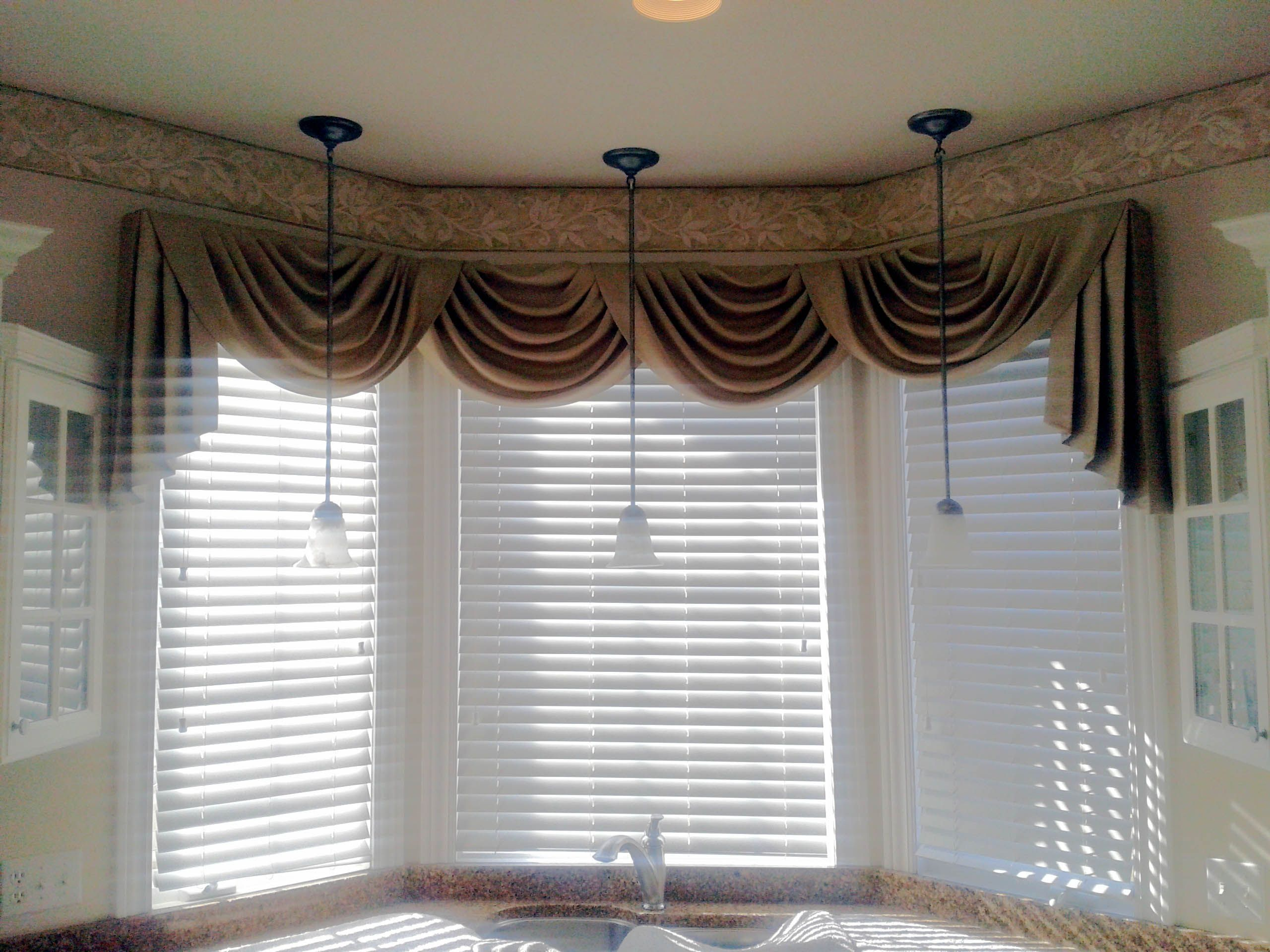 Swag Curtain Valance Over Wood Blinds