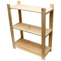 3 Tier Pine Shelf Unit - Pine Shelves with 3 Wooden ...