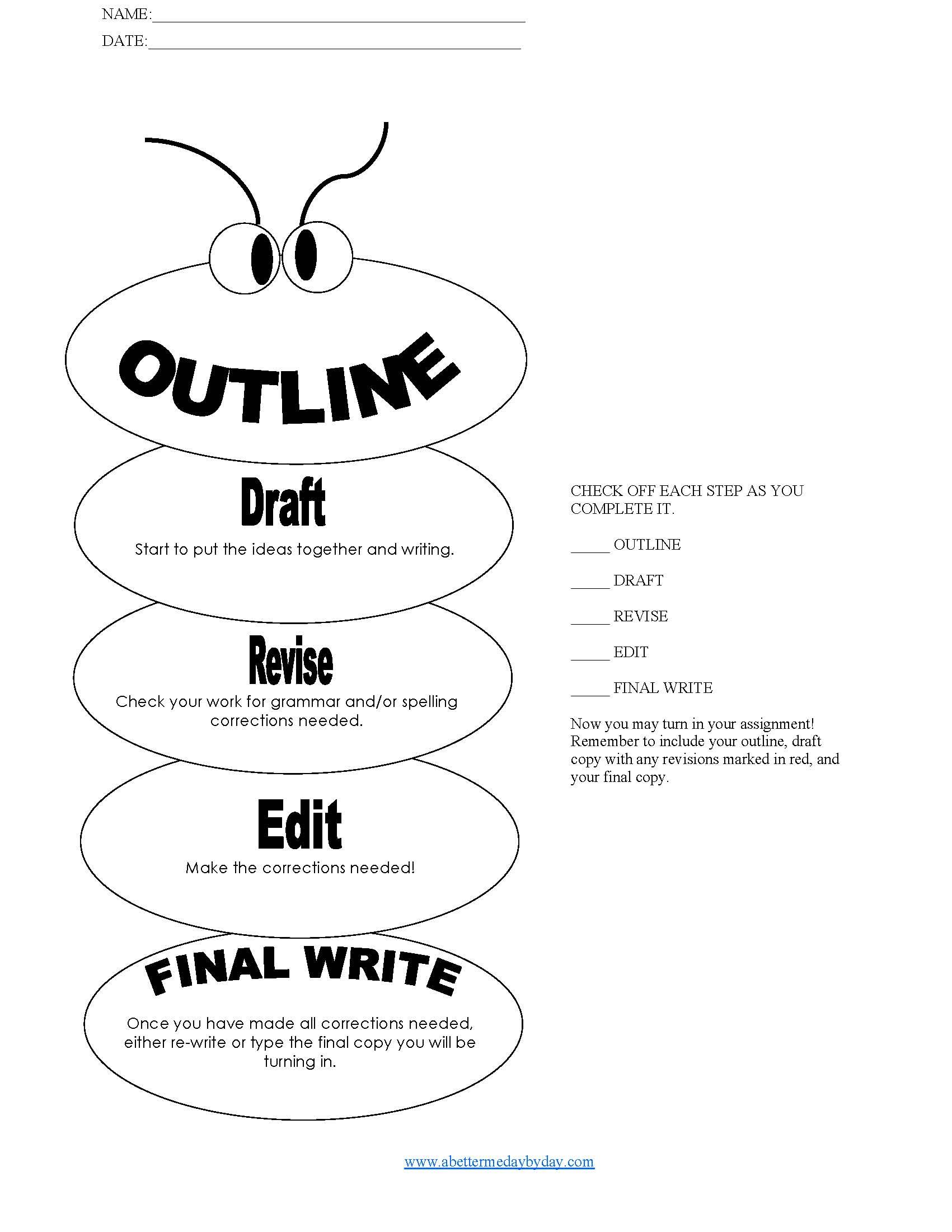 HS3-simple 5 paragraph essay outline worm form with