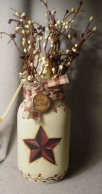 Primitive Crafts | Primitive Barn Star Candle Jar Lamp ...