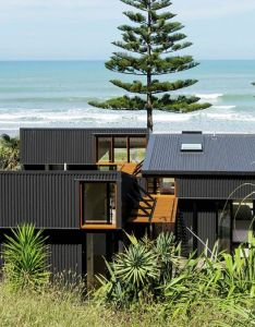 Architecture also low impact offset shed house is  modern beach home in new zealand rh pinterest