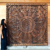 Large Relief Carving. Teak Wood Wall Panel. Thai Asian ...