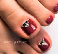 Red-Rhinestone Toe Nail Art | TOE NAIL ART | Pinterest ...