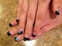 Black French tip nails with flower design. | Nails ...