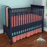 Custom Nursery Bedding | Turquoise, Carousels and Fabrics