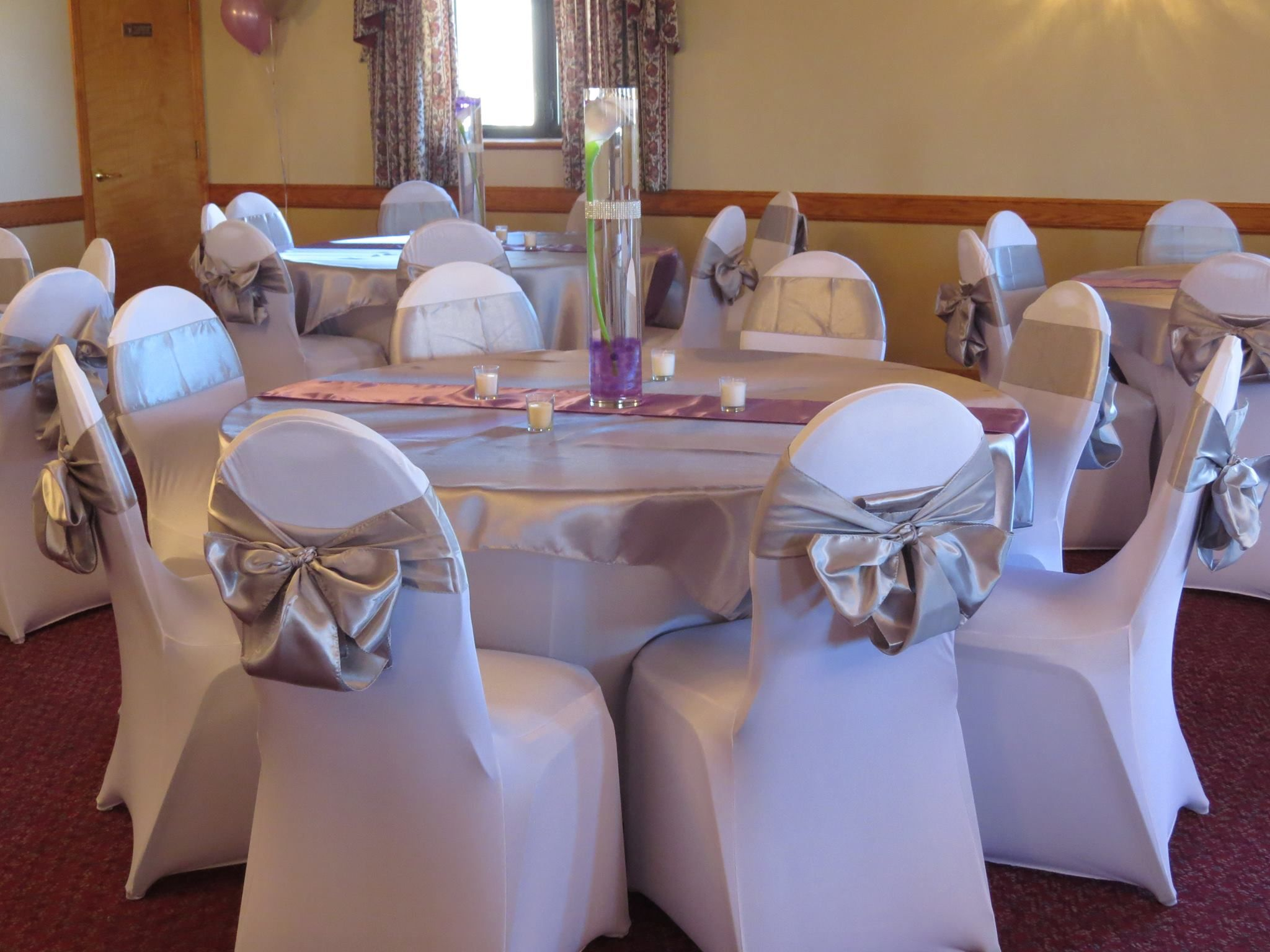 Spandex chair and table covers silver satin table