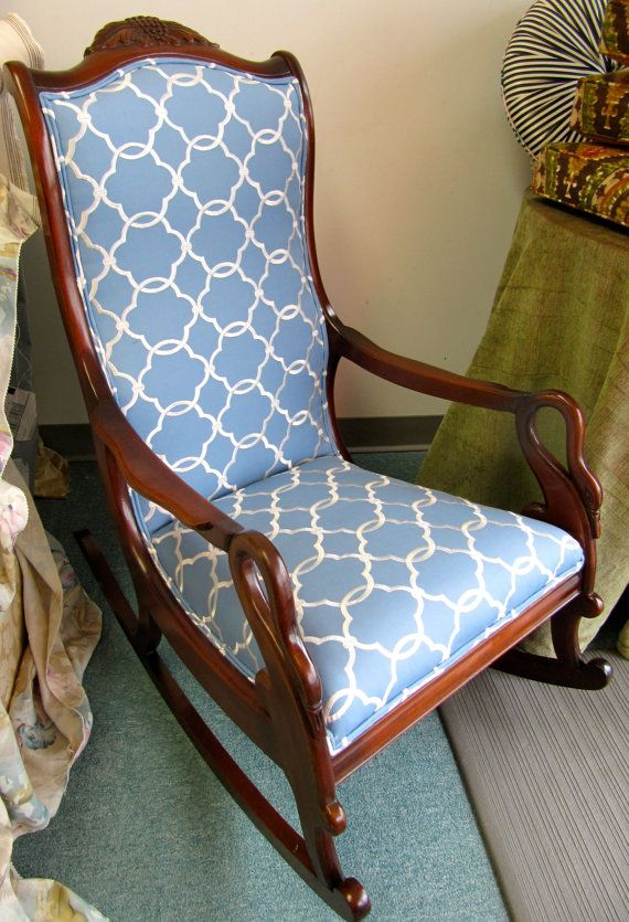 Gooseneck Rocking Chair in Blue and Cream by