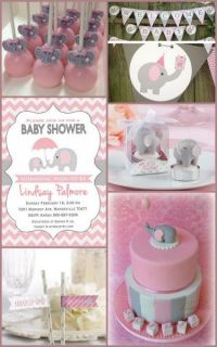 Pink and Grey Elephant Baby Shower Ideas for a Girl from ...