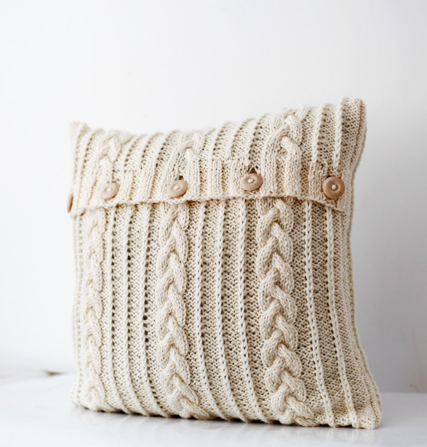Cable hand knitted pillow wool cover  milk white