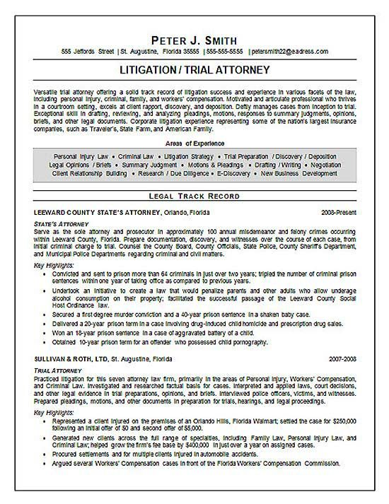 Trial Attorney Resume Example Resume Examples Trials And Lawyer