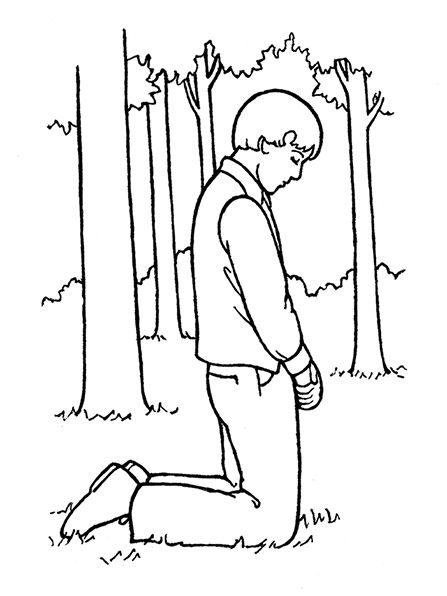 An illustration of Joseph Smith praying in the Sacred