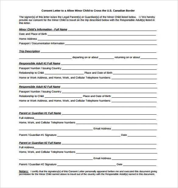 Notarized Document Sample   FREE DOWNLOAD  Parents Consent Letter For Work