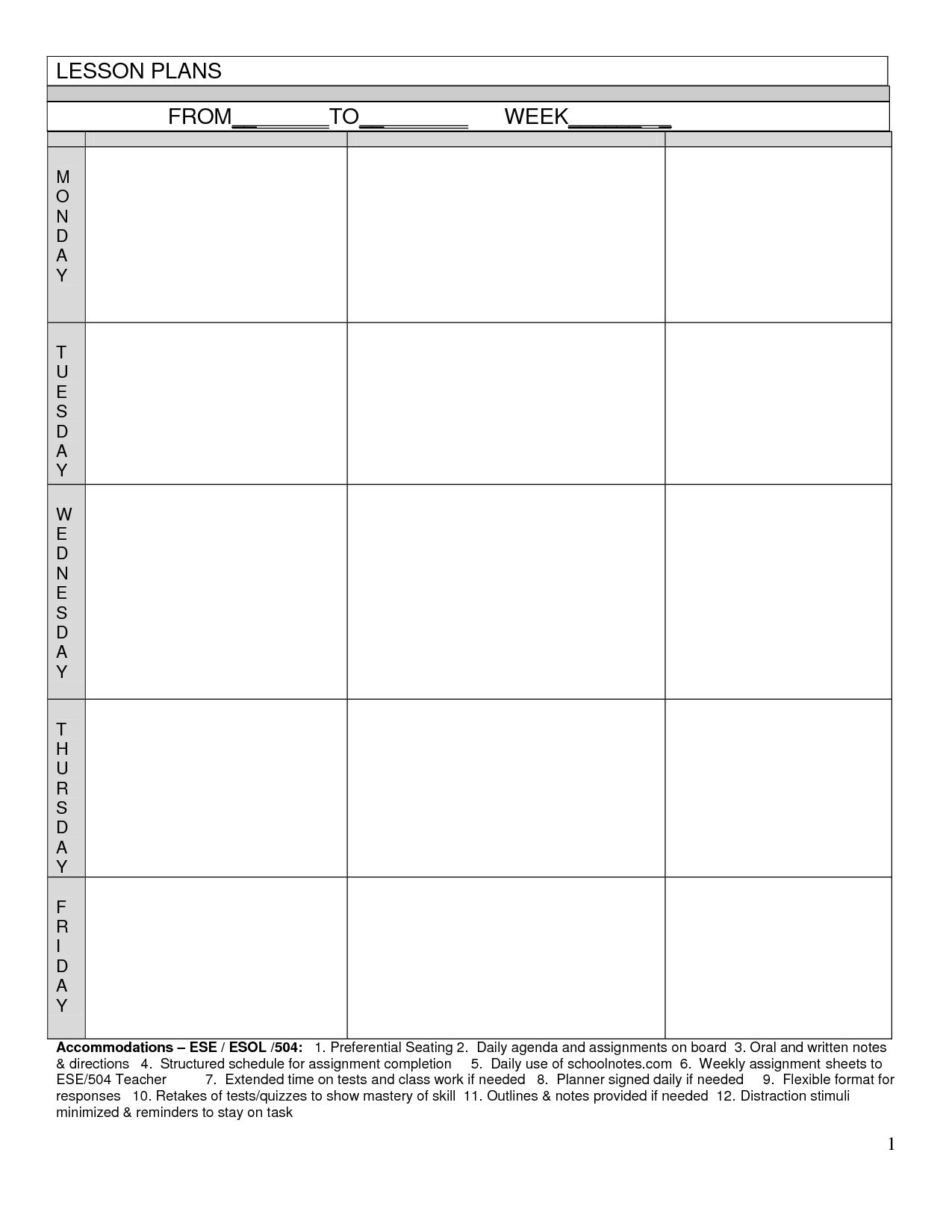 Blank Lesson Plans For Teachers