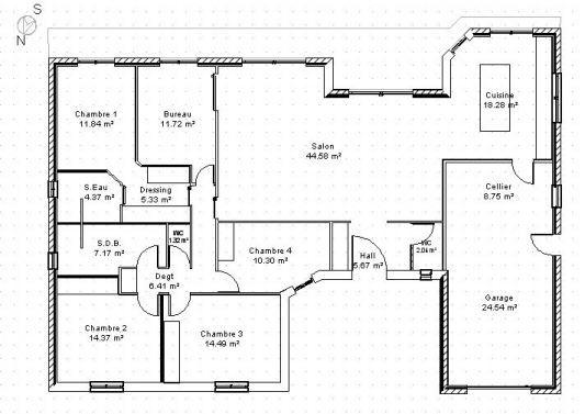 Plan Maison Plain Pied En U Plus