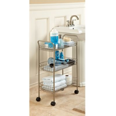 3-tier rolling bath cart with locking wheels in matte nickel | spa