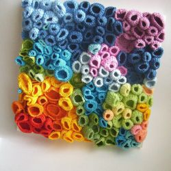 Rainbow Crochet Flowers On Canvas Gardening Flower And Vegetables