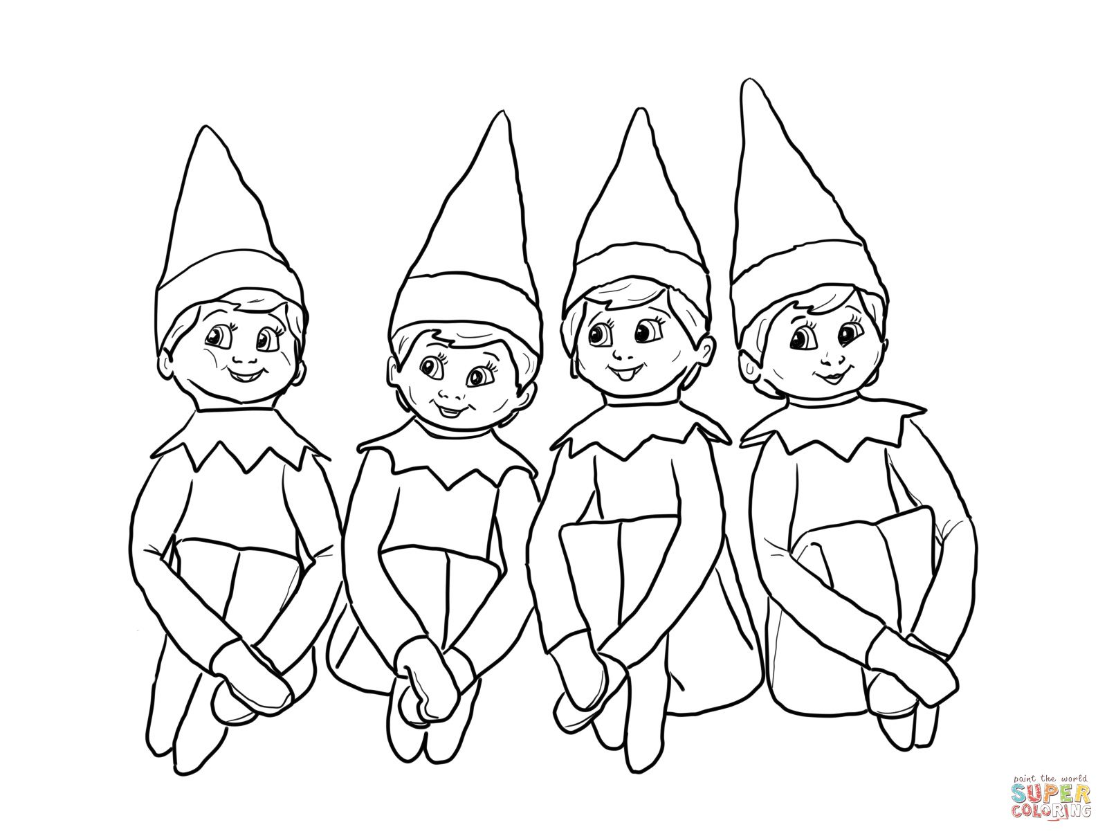 Elves On The Shelf Coloring Page Supercoloring Spring C