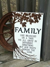 Wooden Family Sign - Family Roots Sign - Painted Rustic ...
