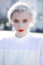 platinum blonde with red lip