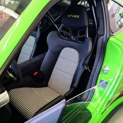 Porsche 911 Houndstooth Black And White Seats Interior Gt3rs Lime Green Auto Addictio